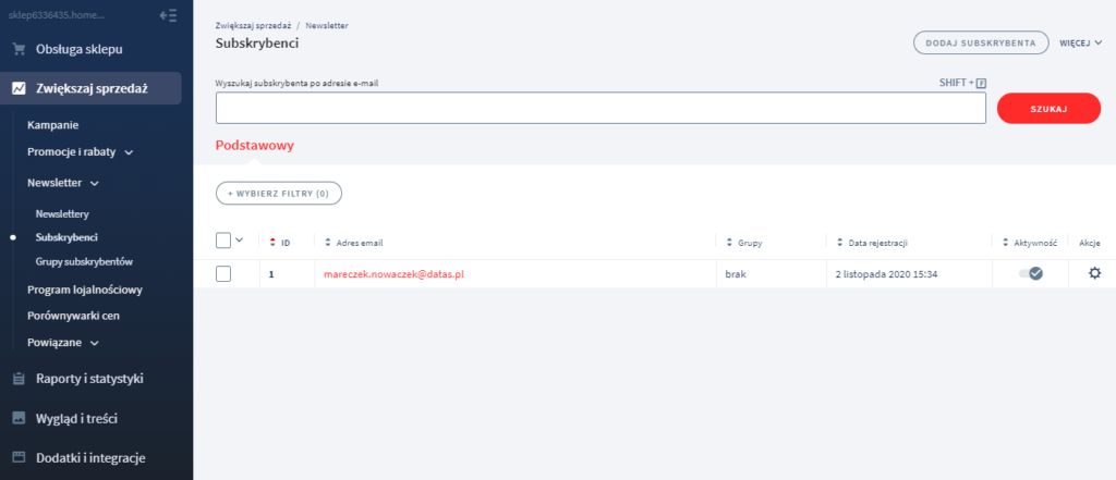 Panel eSklep: Klienci > Subskrybenci