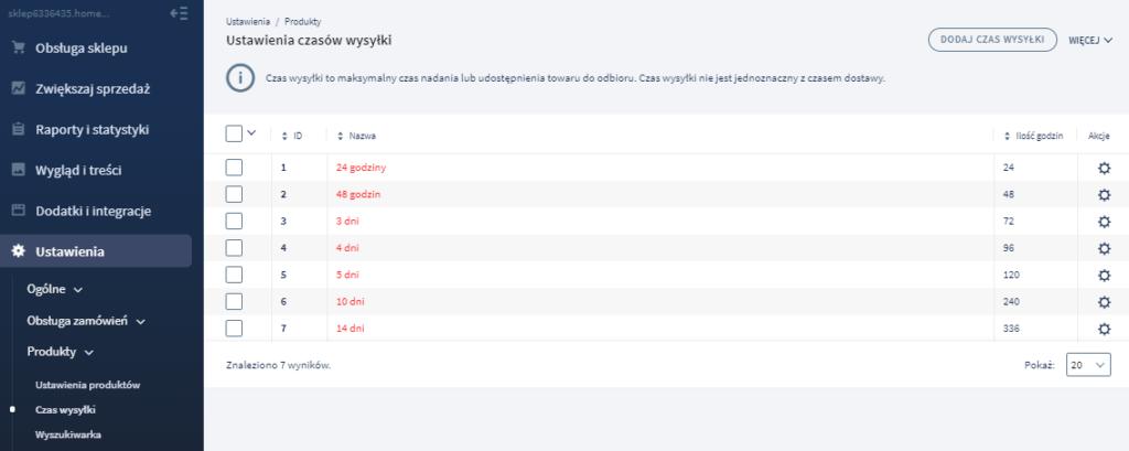 W sekcji Ustawienia > Czas wysyłki możesz określić terminy wysyłek dla swoich produktów