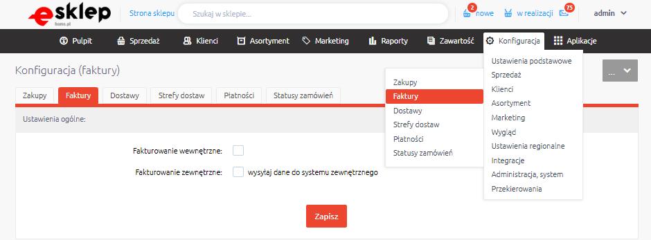 Panel eSklep: Sprzedaż > Faktury