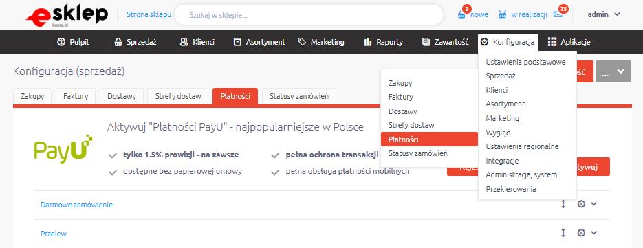 Panel eSklep: Sprzedaż > Płatności