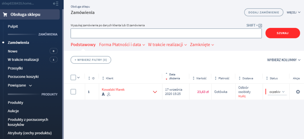 Panel eSklep: Obsługa sklepu > Zamówienia