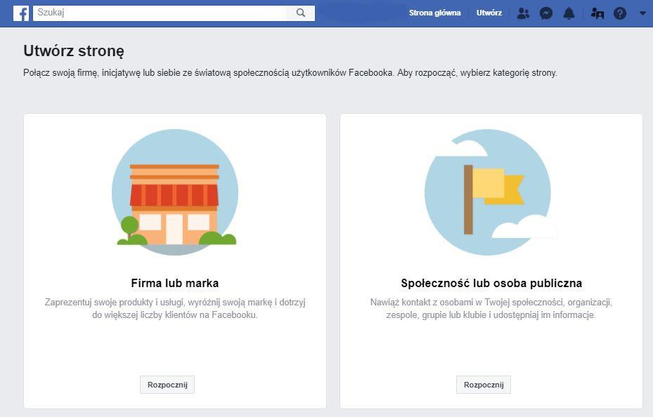 Zakładanie Fanpage w serwisie Facebook - utwórz stronę