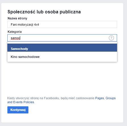 Tworzenie Fanpage na Facebooku - społeczność lub osoba publiczna