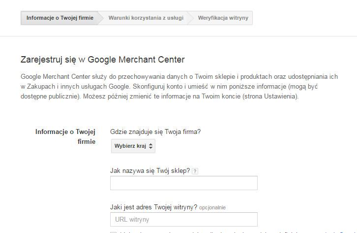 Google Merchant Center - Uzupełnij formularz rejestracji