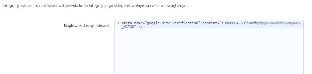 Sklep internetowy - Konfiguracja - Integracje - Integracje własne - Umieść fragment kodu w sekcji HEAD
