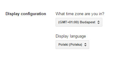 Google Merchant Center - Panel Klienta - Settings - General - Edit settings - Zmień pozycję: Display language i ustaw język polski