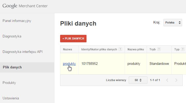 Google Merchant Center - Panel Klienta - Przejdź do sekcji Pliki danych i kliknij w nazwę pliku