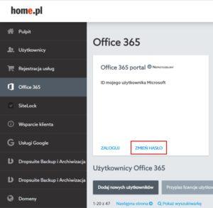 Zmiana hasła Office 365 w home.pl