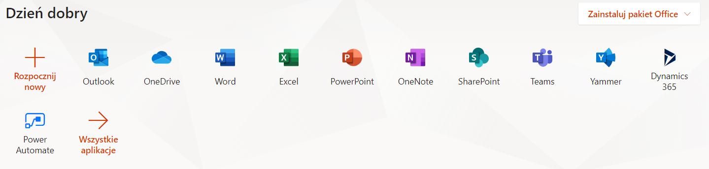 Office 365 w przeglądarce