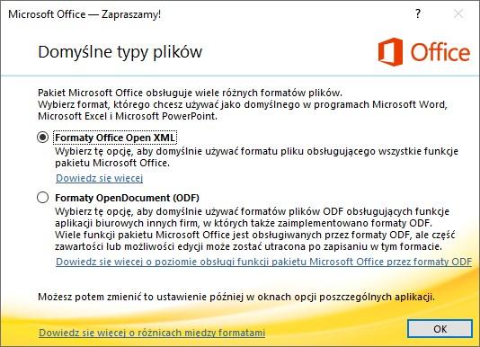 Wybór formatów w Office 365