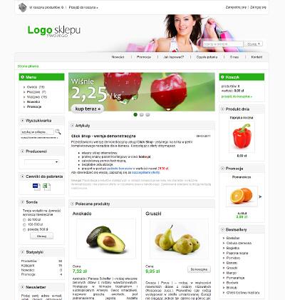 eSklep - Przykładowy wygląd strony głównej sklepu internetowego