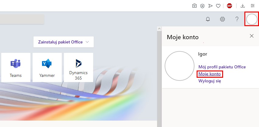 Moje konto w Office 365