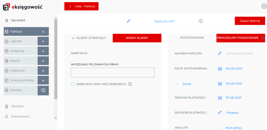 Wprowadzanie danych klienta eKsięgowość