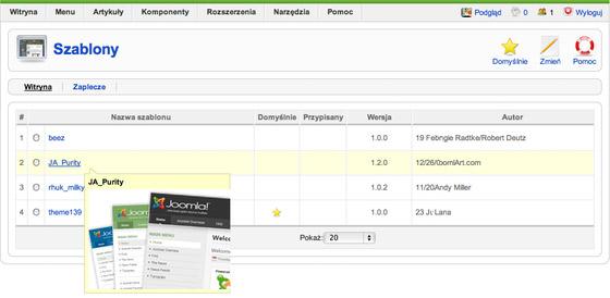 Joomla - Rozszerzenia - Szablony - Wybierz szablon