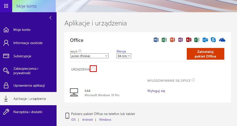 Usuwanie komputera z konta Office 365