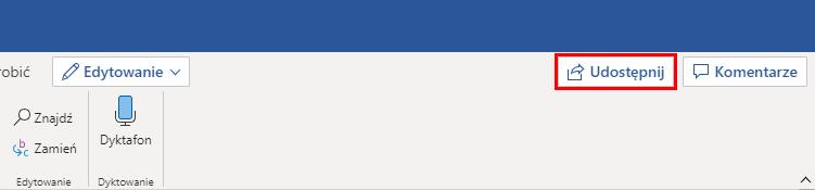 Jak udostępnić plik w internetowej aplikacji Office 365
