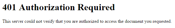 Przykładowy wygląd komunikatu błędu 401 Authorization Required na serwerach home.pl