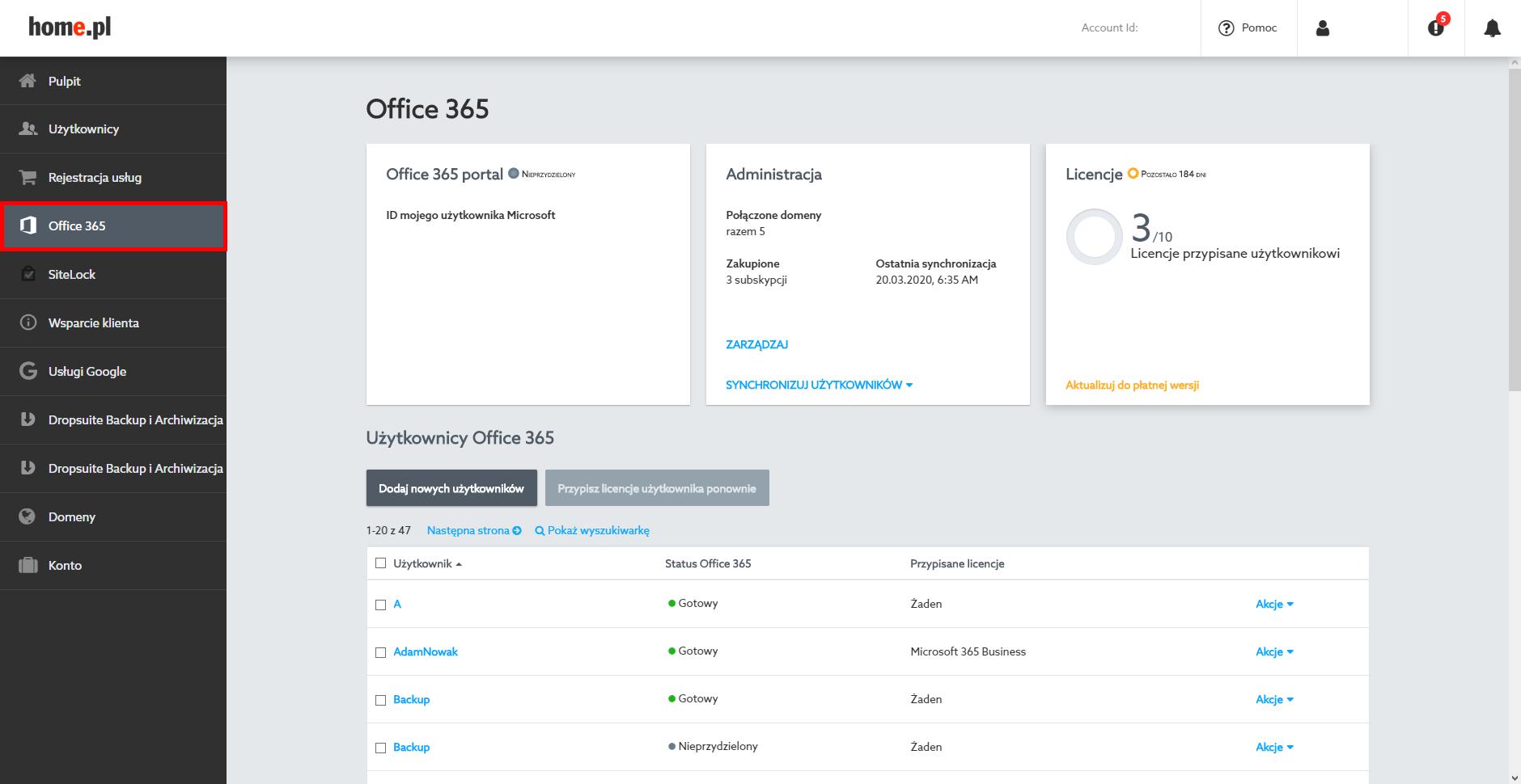 Jak zalogować się do Panelu klienta Office365 w home.pl?
