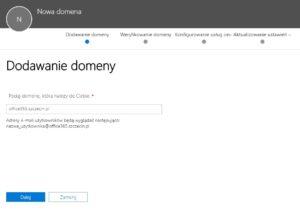 Panel dodawania domeny w Office