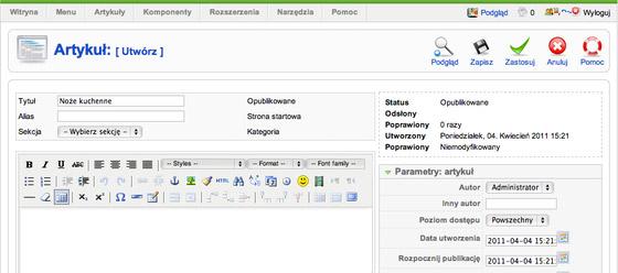 Joomla - Artykuły - Artykuły - Utwórz - Uzupełnij formularz i  kliknij Zapisz, aby dodać artykuł
