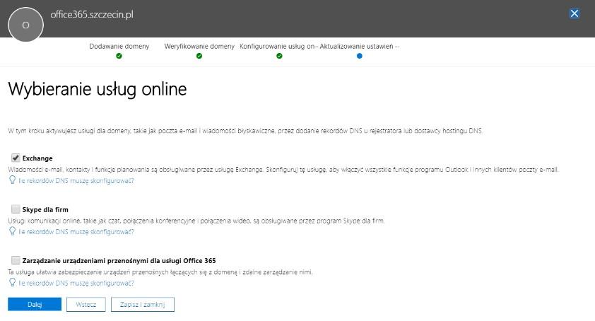 Office 365 - konfiguracja usług online w domenie