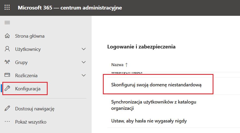 Konfiguracja domeny Microsoft 365