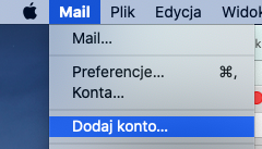 Program Mail - Mail - Dodaj konto