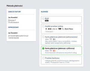 Serwis home.pl - Menu - Hosting - Oferta - Wybieram - Okres rozliczeniowy - Podsumowanie - Konto - Twoje zamówienie - Wybierz w jaki sposób chcesz opłacić zamówienie