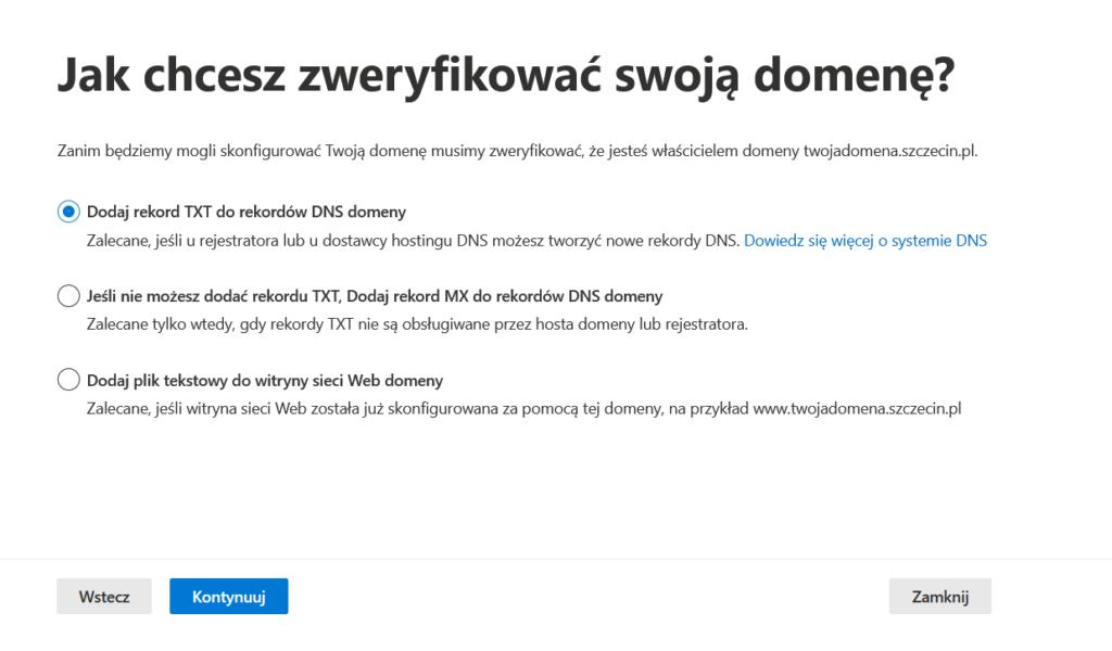Sposób weryfikacji domeny