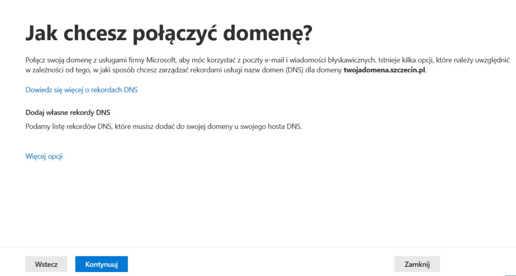 Konfiguracja domeny Office 365
