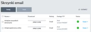 Widok skrzynek e-mail