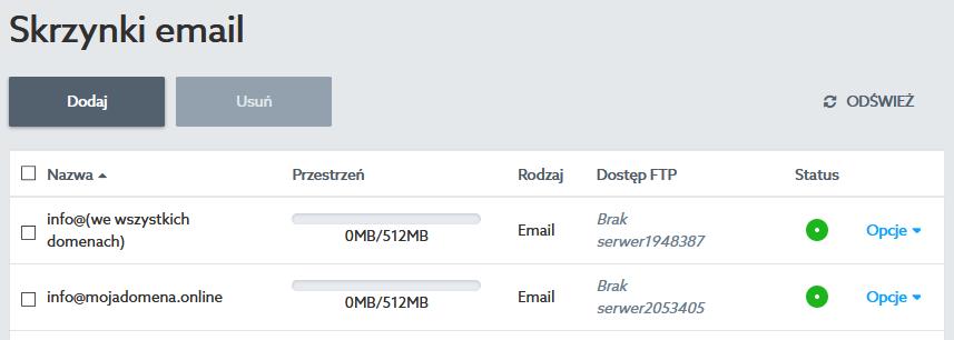 Różnice między kontami e-mail oraz FTP, utworzonymi we wszystkich domenach, a utworzonymi w ramach konkretnej domeny