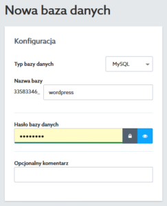 Baza danych MySQL - Formularz tworzenia nowej bazy danych na serwerze w home.pl - Wpisz nazwę bazy danych oraz jej hasło dostępu