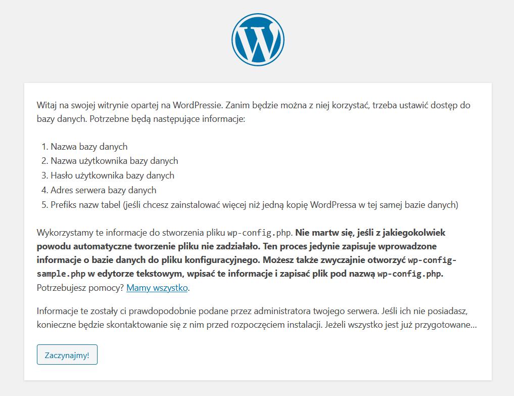 Przeglądarka internetowa - Adres URL - Instalacja - Kliknij przycisk Zaczynajmy