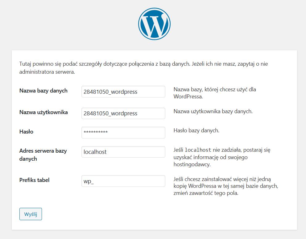 Przeglądarka internetowa - Adres URL - Instalacja - Podaj niezbędne dane konfiguracyjne