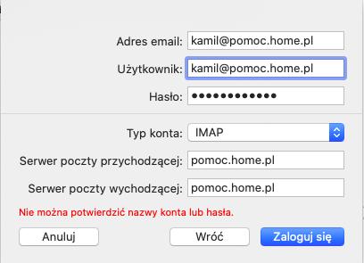 Mail - Uzupełniona konfiguracja