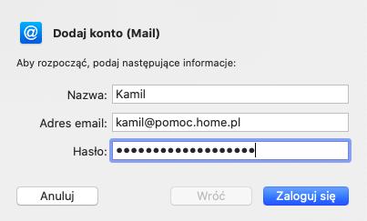 Mail - login i hasło