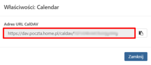 Gdzie znajdę adres CalDav dla kalendarz w Poczcie home.pl