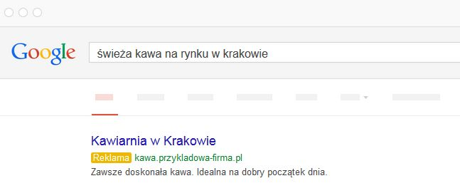 Wyszukiwarka Google - Ranking reklamy - Przykładowa pierwsza wyświetlona pozycja z reklamą