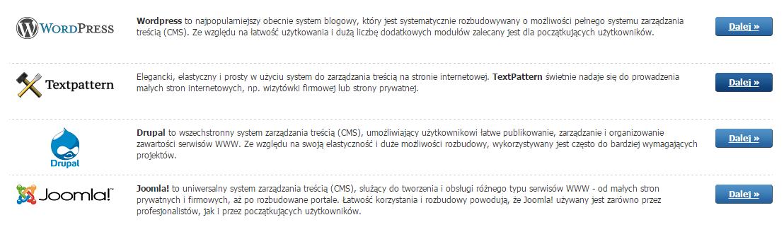 Panel Klienta - Usługi - Nazwa serwera - Konfiguracja usługi - Autoinstalator - Wybierz aplikację użytkową