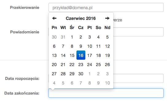 Poczta home.pl - Ustawienia - Opcje konta - Autoresponder - Włącz funkcję autoresponder i zdefiniuj datę zakończenia dla funkcjonowania autorespondera