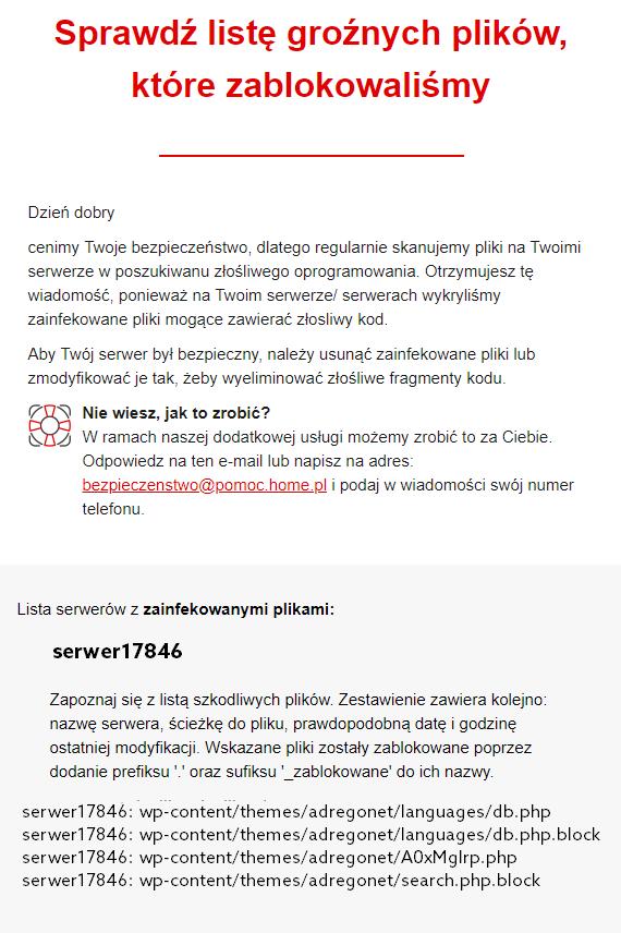 Wiadomość informująca o szkodliwym oprogramowaniu na serwerze