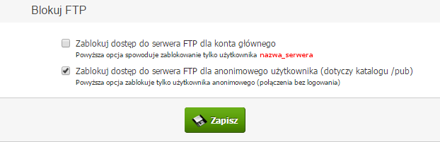 Blokada serwera FTP