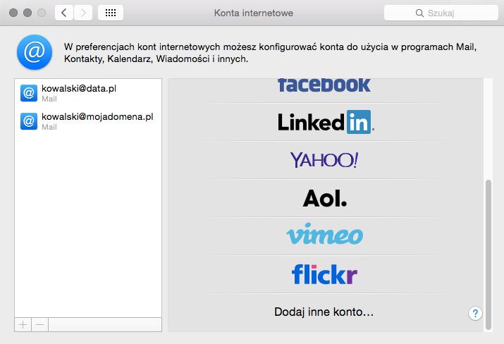 iOS (MacBook) - Mail - Dodaj konto - Kliknij przycisk Dodaj inne konto