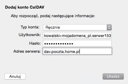 iOS (MacBook) - Mail - Dodaj konto - Dodaj inne konto - Dodaj konto CalDAV - Wypełnij formularz konfiguracji