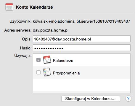 iOS (MacBook) - Mail - Dodaj konto - Dodaj inne konto - Dodaj konto CalDAV - Formularz konfiguracji - Określ zasady synchronizacji oraz inne dodatkowe ustawienia