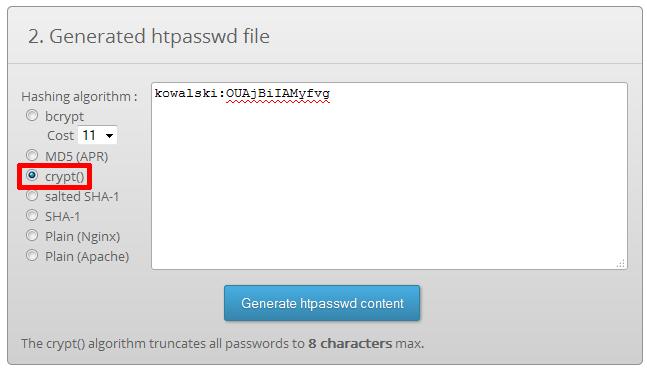 htpasswd generator - password encryption - Generated htpasswd file - W formularzu kodowania hasła, należy zaznaczyć opcję crypt()