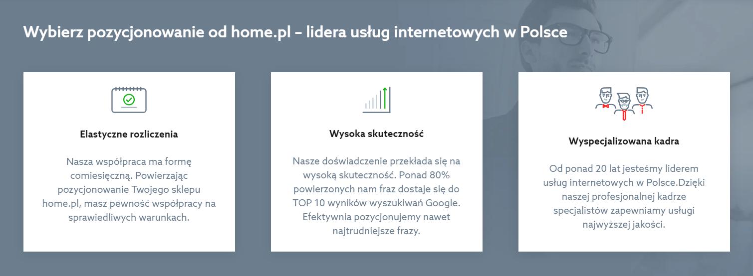 Wybierz pozycjonowanie od home.pl - lidera usług internetowych w Polsce - Elastyczne rozliczenia, Wysoka skuteczność, Wyspecjalizowana kadra