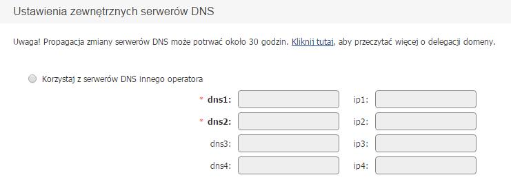 Panel Klienta home.pl - Konfiguruj - Ustawienia zewnętrznych serwerów DNS - Przypisz domenę do serwera