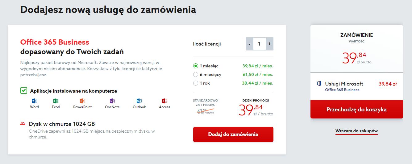 Oferta home.pl - Pakiet Office 365 - Wybieram - Zamówienie - Wskaż liczbę licencji (użytkowników) pakietu Office 365
